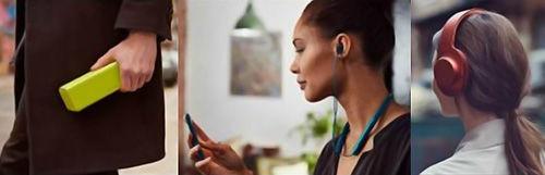 """(De izquierda a derecha) """"h.ear go,"""" """"h.ear in Wireless"""" y """"h.ear on Wireless NC"""""""